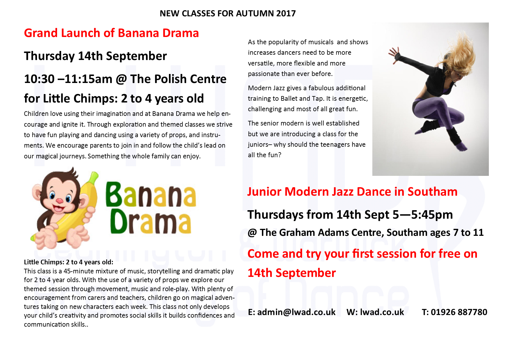 NEW CLASSES FOR AUTUMN 2017