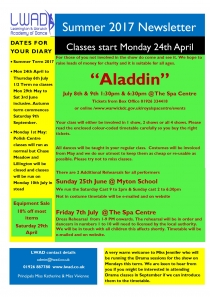 Summer 2017 Newsletter  Classes start Monday 24th April  Term from 24th April to 6th July